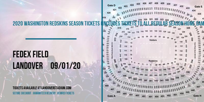 2020 Washington Redskins Season Tickets (Includes Tickets To All Regular Season Home Games) at FedEx Field